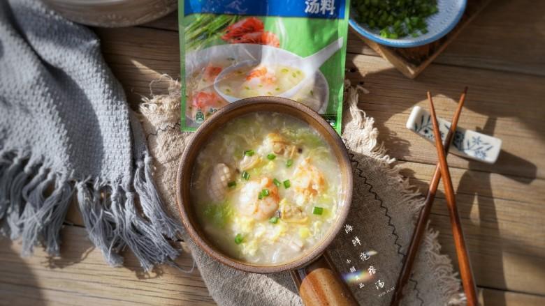 海鲜疙瘩汤,成品。