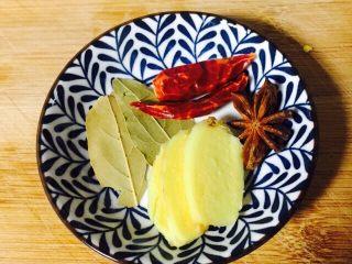 红烧鸡翅,姜去皮切片,香叶、八角、辣椒清洗一下沥干水分备用