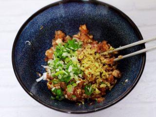 翡翠白玉生煎包,先加入鸡精,料酒、生抽、豆瓣酱、花椒粉搅拌均匀后加入切碎的葱姜末。