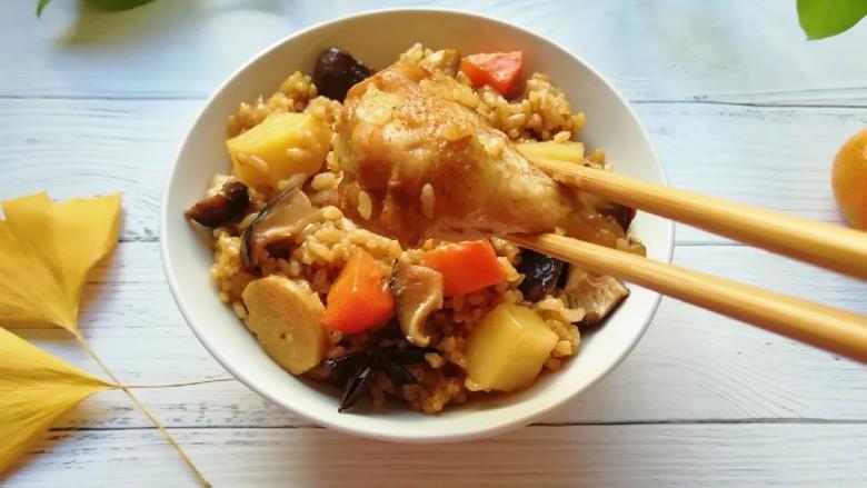 翅根香菇焖饭, 流口水了。