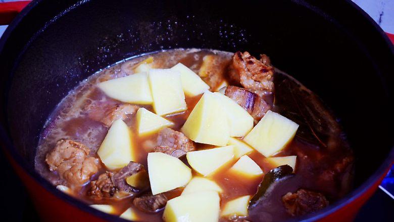 排骨炖土豆,加入土豆,继续小火炖煮10-15分钟