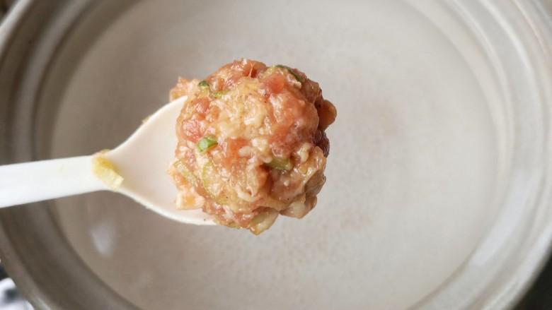 冬瓜丸子汤,锅中适量水(或者高汤),煮至微开(锅底刚开始冒小气泡),用勺子将肉糜挖圆入锅。