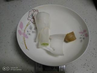可可味猪肉芹菜饺子,葱、姜准备好。