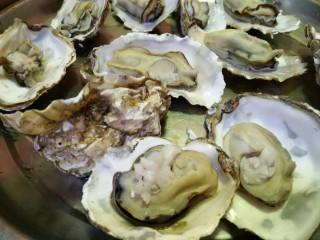海蛎子炒鸡蛋,生蚝提前入锅,煮熟撬开