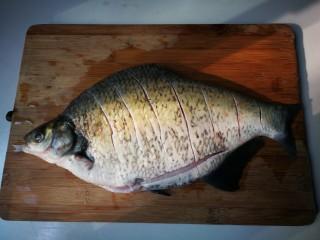 泡椒烧鳊鱼,鳊鱼刮去鱼鳞去掉鱼肠鱼鳃清洗干净,放入一小勺里外抹匀腌制一小时