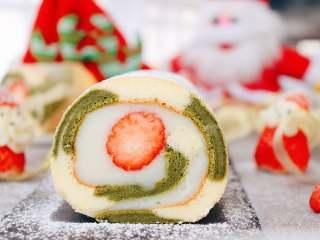圣诞草莓蛋糕卷
