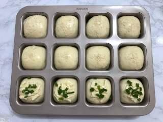 一次发酵餐包,取出烤盘,在面包表面刷上一层蛋液,撒上适量白芝麻装饰。也可以放上芝士、香葱、沙拉酱。