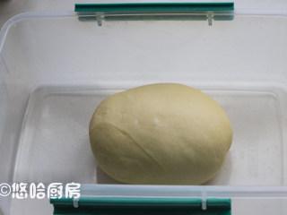圣诞树面包,面团表面收光滑后,放入保鲜盒中进行发酵,冬季可以放在暖气旁边发酵。