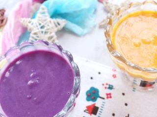 奶香南瓜紫薯泥,可以取米粉一半的泥加入米粉里,和米粉一起食用,这样宝宝既食用了主食米粉,又食用了蔬菜。