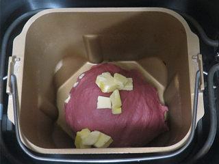 美颜美味~双重诱惑滴面包【草莓夹馅甜心包】,加入黄油,继续和面程序20分钟
