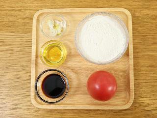 番茄面片12m+:酸甜开胃又营养!,准备食材:番茄 1个、面粉 100g、 葱花适量、油适量、酱油 2勺