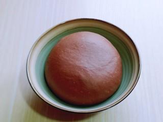 可可酸奶吐司面包,20分钟后已经有了不容易破的手套膜!将面团取出揉圆,放入发酵碗中。