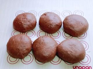 可可酸奶吐司面包,发酵好的面团分成6等份。,盖上保鲜膜松弛20分钟。