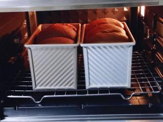 可可酸奶吐司面包,发酵至9分满即可开始烤,入烤箱底层。