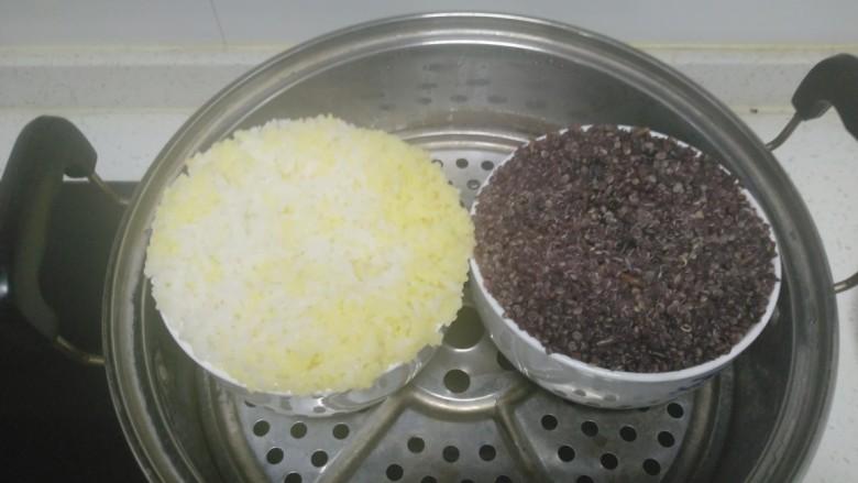 蒸小米大米饭+蒸黑米红米糙米饭