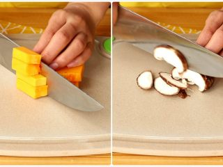 电饭锅焖饭,南瓜切块,香菇去蒂,切片 tips:宝宝不爱嚼的话,可以将香菇切碎丁,香菇也可以替换成其他的菌菇