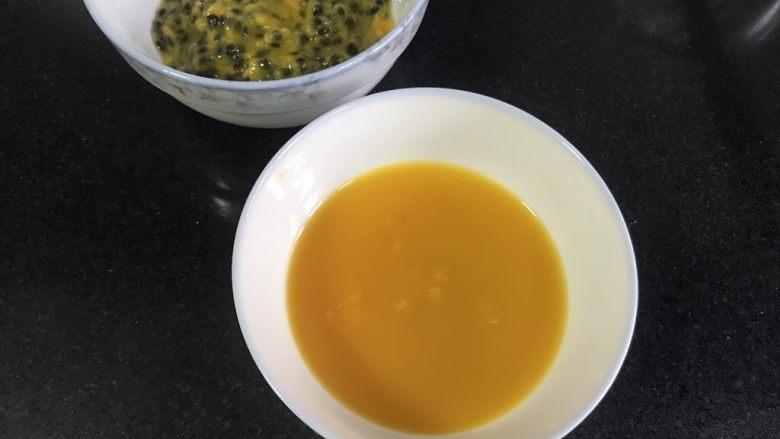 百香果慕斯,百香果汁把籽过滤掉,取纯汁80克。