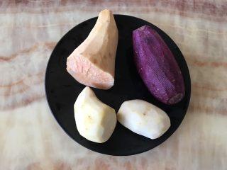 自制鲜芋圆,准备好紫薯,红薯,芋头,洗净去皮