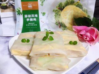 藤椒风味手撕鸡の饺子皮卷饼,成品图