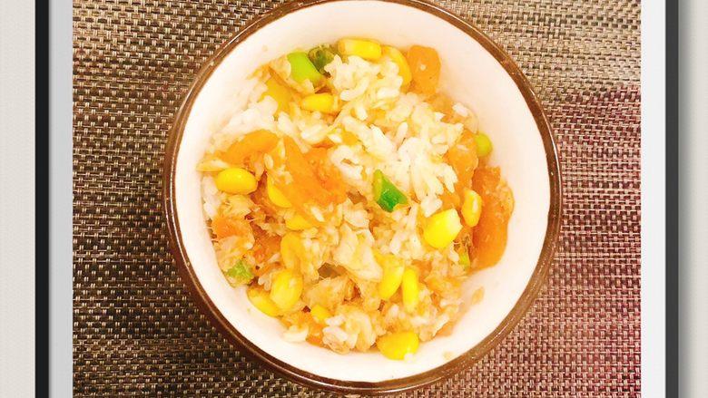 蒜苔玉米鱼香烩饭