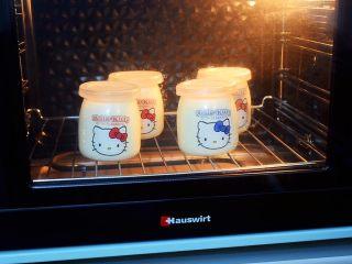 奶粉酸奶,启动发酵程序,默认40度,时间为9小时,如果不是智能烤箱,可把时间调为长开,等9小时后再关了