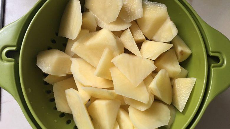 地三鲜,土豆水沥干