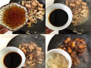 """秘制红烧肉-""""米饭杀手"""",加料酒、生抽、老抽、冰糖,炒匀"""