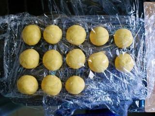 紫薯南瓜糯米糕,将饧好的面团,取约30g的面剂子,揉成球,用保鲜膜盖起来。