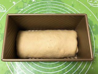 豆沙奶油吐司,放入吐司盒,盖上保鲜膜。