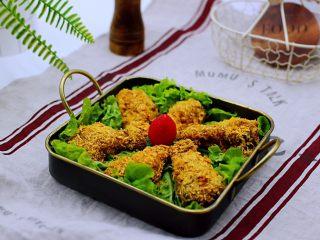 减脂无油的面包糠烤翅根,金黄色的面包糠,诱惑到你木有,秒杀KFC,想吃自己做健康更卫生。