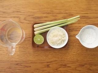 青柠香茅冻,水600ml、香茅2-3根、青柠半个、冰糖50g、冰粉适量