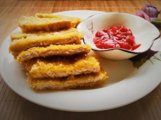 #猪里脊#炸猪排,摆盘,蘸番茄酱吃,外酥里嫩,酸甜可口,非常好吃!