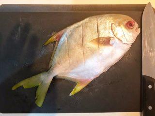 家常红烧金鲳鱼,在金鲳鱼身上斜切三刀