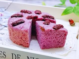 好吃不上火~红枣紫薯发糕,切开啦!特别好,零失败。