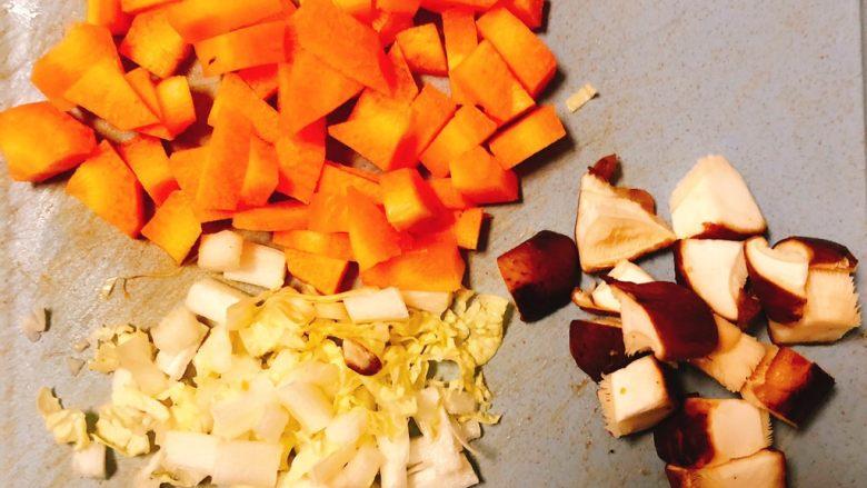 虾米时蔬红薯烩饭,切蔬菜