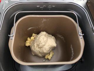 椰蓉餐包,除黄油外的其他材料放入面包机揉面15分钟后放入软化的黄油,切小块,继续揉面25分钟