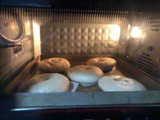 葡萄干肉桂胚芽贝果,捞起面包胚并沥干水分,放入烤盘,进预热好的烤箱烤20分钟左右,具体时长看自家烤箱脾气,直到表面呈现金褐色。