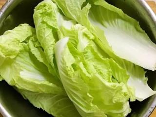 开胃辣白菜,先把白菜去根,掰叶清洗干净
