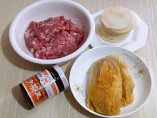 #猪里脊#酸菜猪肉馅饺子,准备馅料食材及饺子皮,猪里脊肉洗干净用料理机搅碎。