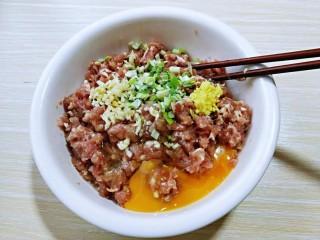 #猪里脊#酸菜猪肉馅饺子,葱姜蒜去皮切碎,盐,料酒,沙茶酱加肉糜中,再加入鸡蛋。