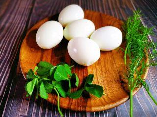 印花卤蛋,准备蔬菜叶子,我准备的是豆苗和茴香,其他好看的蔬菜叶子也可以哦