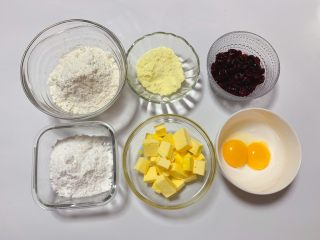 蔓越莓奶酥,准备好所用食材。
