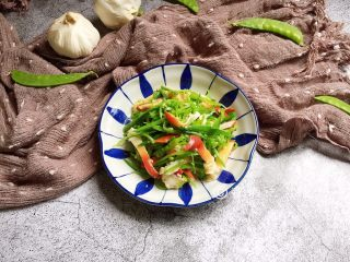 红绿配 荷兰豆拌北极贝,完成