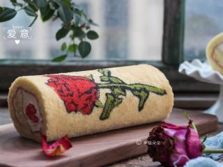 彩绘玫瑰蛋糕卷,手绘玫瑰蛋糕卷,蕴含火热爱心哦!
