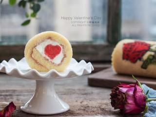 彩绘玫瑰蛋糕卷,情人节快乐!
