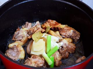 红烧鸭子,加入葱姜蒜、八角、桂皮、香叶、干红辣椒炒出香味