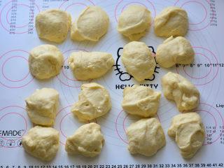 紫米小餐包,发酵好的面团,平均分成16份揉圆,醒发10分钟