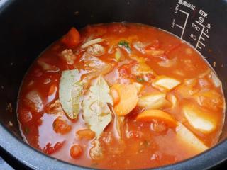 黑猪肉番茄炖菜,加红萝卜后倒水,然后加马铃薯及月桂叶拌一下。合盖上锁,选「牛肉/羊肉」模式,压力值降為40kpa,按「开始烹飪」。
