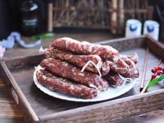 #猪五花肉#自制腊肠,成品图。
