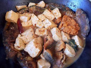#年年有余#酱焖鲫鱼豆腐,继续炖煮至汤汁浓稠即可
